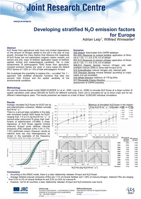 Developing stratified N 2 O emission factors for Europe Adrian Leip 1, Wilfried Winiwarter 2 Abstract N 2 O fluxes from agricultural soils have only limited.