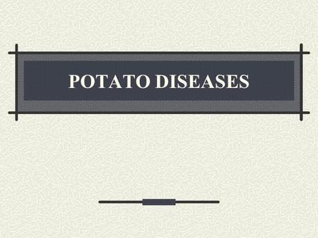 POTATO DISEASES. INJURIES AND DISORDERS BLACKHEART.