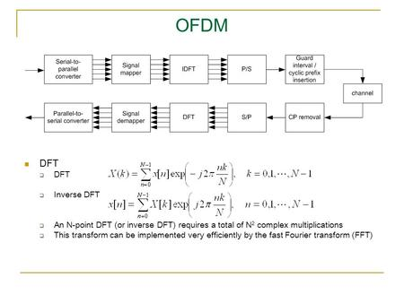 OFDM DFT  DFT  Inverse DFT  An N-point DFT (or inverse DFT) requires a total of N 2 complex multiplications  This transform can be implemented very.