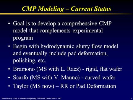CMP Modeling – Current Status Goal is to develop a comprehensive CMP model that complements experimental program Begin with hydrodynamic slurry flow model.