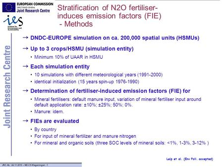 JRC-AL: 24.11.2010 – NE-C5-Wageningen - 1 Stratification of N2O fertiliser- induces emission factors (FIE) - Methods → DNDC-EUROPE simulation on ca. 200,000.