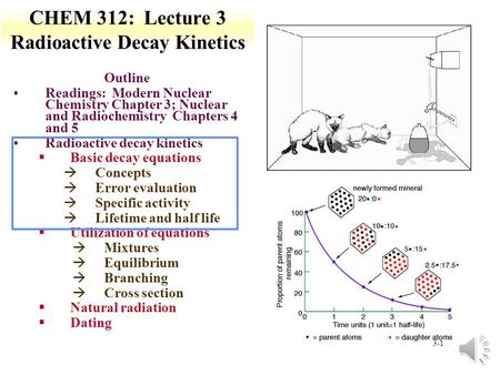 3-1 CHEM 312: Lecture 3 Radioactive Decay Kinetics Outline Readings: Modern Nuclear Chemistry Chapter 3; Nuclear and Radiochemistry Chapters 4 and 5 Radioactive.