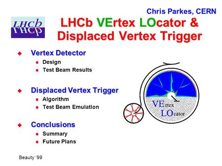 LHCb VErtex LOcator & Displaced Vertex Trigger  Vertex Detector Design Test Beam Results  Displaced Vertex Trigger Algorithm Test Beam Emulation  Conclusions.