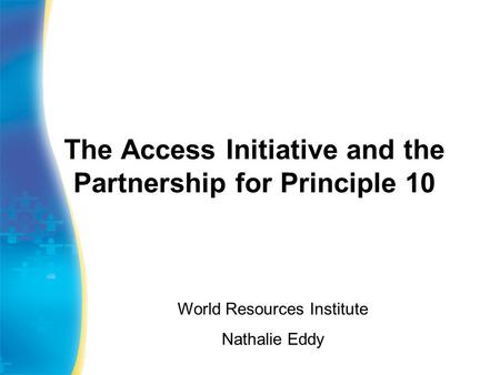 The Access Initiative and the Partnership for Principle 10 World Resources Institute Nathalie Eddy.