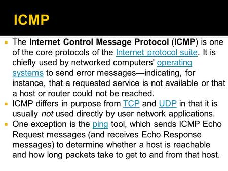  The Internet Control Message Protocol (ICMP) is one of the core protocols of the Internet protocol suite. It is chiefly used by networked computers'