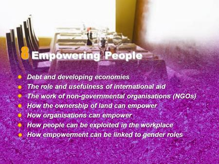Debt and developing economies The role and usefulness of international aid The work of non-governmental organisations (NGOs) How the ownership of land.