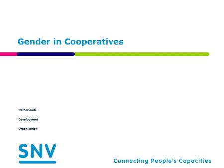 Gender in Cooperatives. Agenda 2  Background and challenges  Proposed interventions.