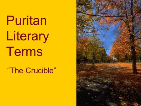 "Puritan Literary Terms ""The Crucible"". ""To My Dear and Loving Husband"" Lyric Poetry: brief poems that express the writer's personal feelings and thoughts."