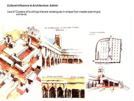 Cultural influence in Architecture: Admin Use of Clusters of buildings that are rectangular in shape from master planning to unit level.