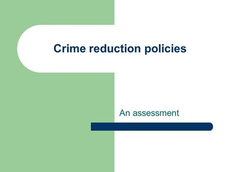 Crime reduction policies An assessment. Policies Prison Electronic tagging Anti social behaviour orders Community sentencing Intensive Supervision and.