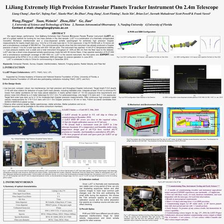 LiJiang Extremely High Precision Extrasolar Planets Tracker Instrument On 2.4m Telescope ABSTRACT We report design, performance from LiJ iang Extremely.
