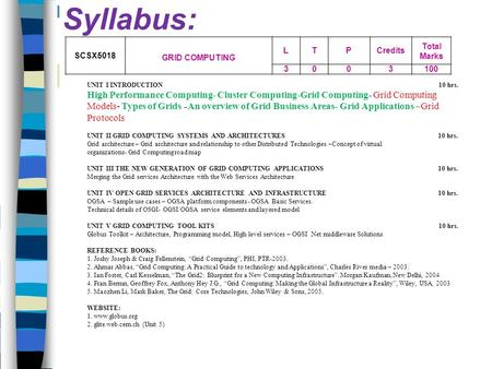 Syllabus: SCSX5018 GRID COMPUTING L T P Credits Total Marks 3 100