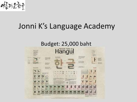 Jonni K's Language Academy Budget: 25,000 baht. Background Jonnik's language academy is one of oldest and well- known academy that teaches Korean to foreigners.