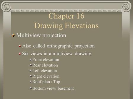 Chapter 16 Drawing Elevations Multiview projection Also called orthographic projection Front elevation Six views in a multiview drawing Rear elevation.