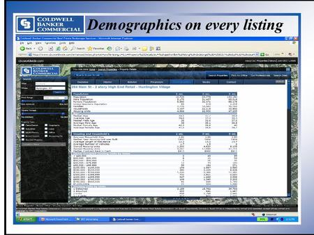 Coldwell Banker Commercial NRT Demographics on every listing.