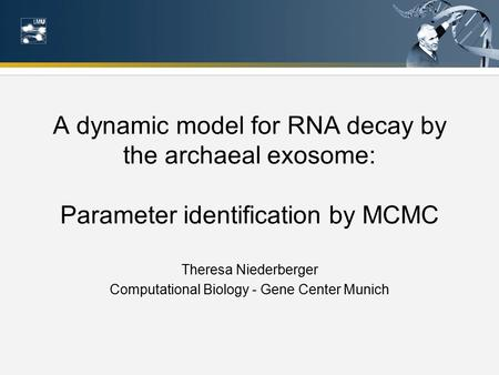 A dynamic model for RNA decay by the archaeal exosome: Parameter identification by MCMC Theresa Niederberger Computational Biology - Gene Center Munich.