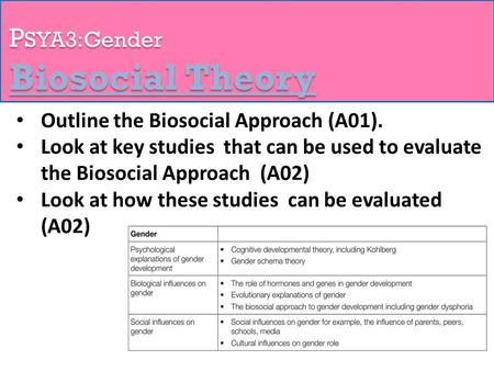 P SYA3:Gender Biosocial Theory Outline the Biosocial Approach (A01). Look at key studies that can be used to evaluate the Biosocial Approach (A02) Look.