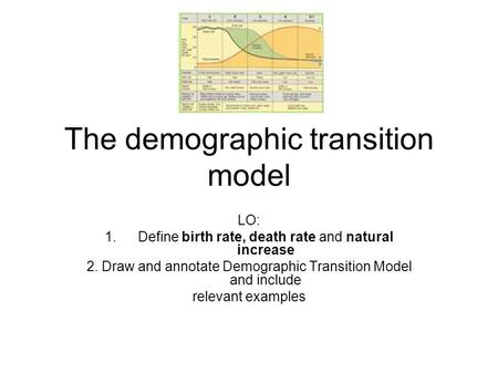 The demographic transition model LO: 1.Define birth rate, death rate and natural increase 2. Draw and annotate Demographic Transition Model and include.