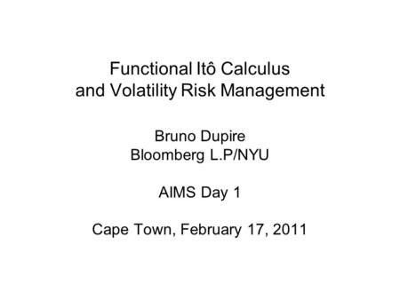 Functional Itô Calculus and Volatility Risk Management
