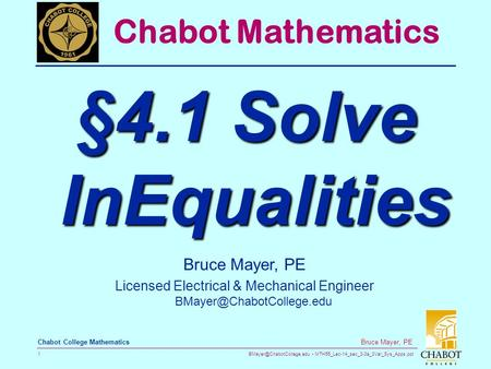 MTH55_Lec-14_sec_3-3a_3Var_Sys_Apps.ppt 1 Bruce Mayer, PE Chabot College Mathematics Bruce Mayer, PE Licensed Electrical & Mechanical.