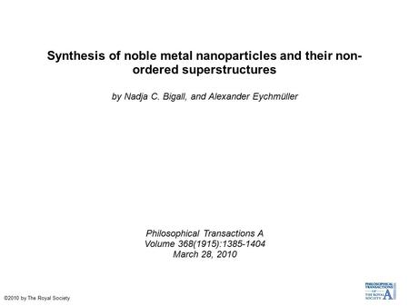 Synthesis of noble metal nanoparticles and their non- ordered superstructures by Nadja C. Bigall, and Alexander Eychmüller Philosophical Transactions A.