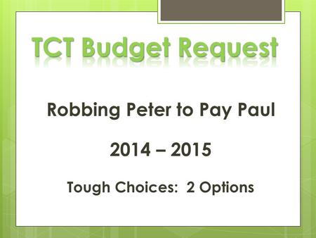 Robbing Peter to Pay Paul 2014 – 2015 Tough Choices: 2 Options.