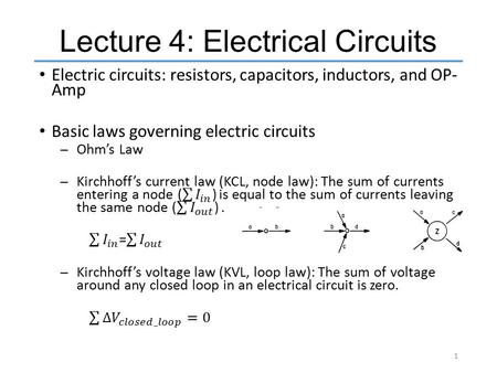 Lecture 4: Electrical Circuits 1. Electrical Circuits 2.