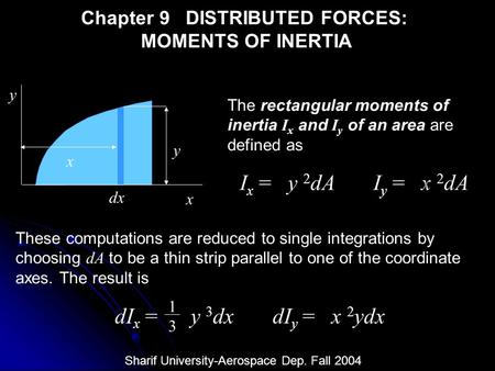 Chapter 9 DISTRIBUTED FORCES: MOMENTS OF INERTIA x y y dx x The rectangular moments of inertia I x and I y of an area are defined as I x = y 2 dA I y =