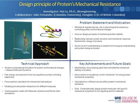 Problem Statement and Motivation Key Achievements and Future Goals Technical Approach Investigator: Hui Lu, Ph.D., Bioengineering, Collaborators: Julio.