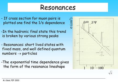 M. Cobal, PIF 2003 Resonances - If cross section for muon pairs is plotted one find the 1/s dependence -In the hadronic final state this trend is broken.
