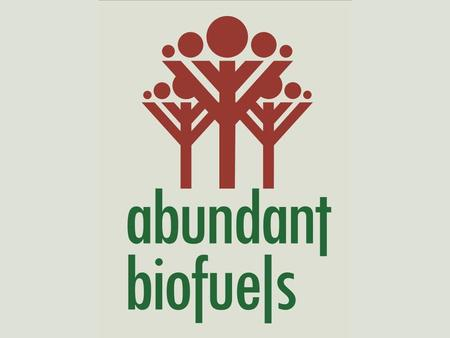 """Food vs. Fuel"" Controversy over Biofuels Charles V. Fishel, CEO Abundant Biofuels Corporation September 19, 2008."