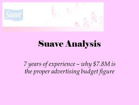 Suave Analysis 7 years of experience – why $7.8M is the proper advertising budget figure.