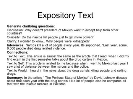 Expository Text Generate clarifying questions: Discussion: Why doesn't president of Mexico want to accept help from other countries? Curiosity: Do the.