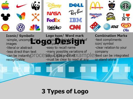 Logo Design process, tips, & examples Logo type/ Word mark -uniquely styled type font of company name -easy to recall name -many possible variations of.