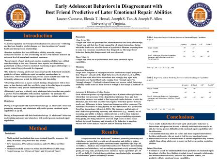 Early Adolescent Behaviors in Disagreement with Best Friend Predictive of Later Emotional Repair Abilities Lauren Cannavo, Elenda T. Hessel, Joseph S.