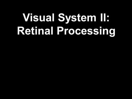 Visual System II: Retinal Processing. Adequate Stimulus: A stimulus of a quality and of sufficient intensity to excite a sensory receptor. Adequate Stimulus.