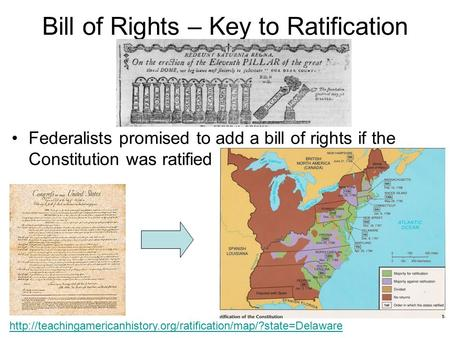Bill of Rights – Key to Ratification Federalists promised to add a bill of rights if the Constitution was ratified