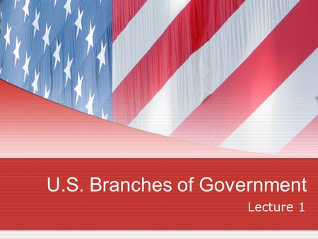 U.S. Branches of Government Lecture 1. Branches Legislative Congress- 2 from each state House of Representatives- 435 members Executive President & Vice.