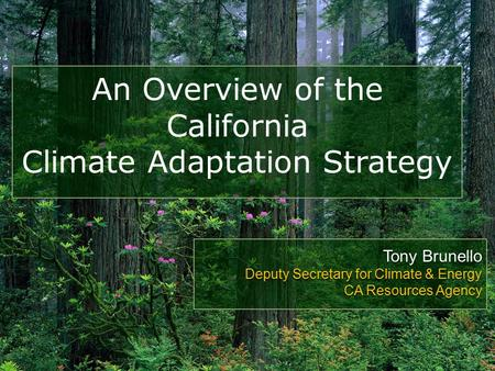 An Overview of the California Climate Adaptation Strategy Tony Brunello Deputy Secretary for Climate & Energy CA Resources Agency.