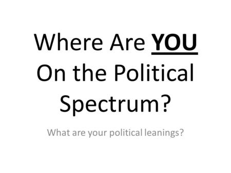 Where Are YOU On the Political Spectrum? What are your political leanings?
