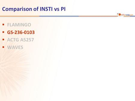 Comparison of INSTI vs PI  FLAMINGO  GS-236-0103  ACTG A5257  WAVES.