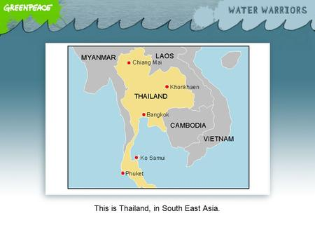 This is Thailand, in South East Asia.. The Chao Phraya River is Thailand's most important river. It's 379km long and flows through the capital, Bangkok.