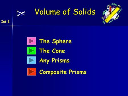 The Sphere The Cone Any Prisms Volume of Solids Int 2 Composite Prisms.