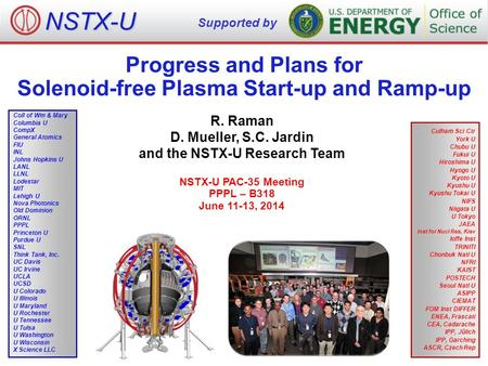 Progress and Plans for Solenoid-free Plasma Start-up and Ramp-up R. Raman D. Mueller, S.C. Jardin and the NSTX-U Research Team NSTX-U PAC-35 Meeting PPPL.