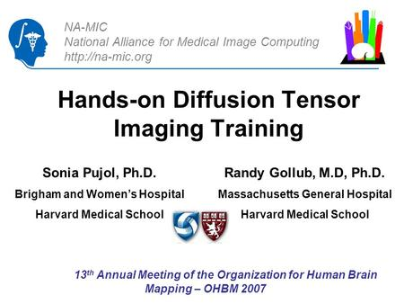 NA-MIC National Alliance for Medical Image Computing  Hands-on Diffusion Tensor Imaging Training Randy Gollub, M.D, Ph.D. Massachusetts.