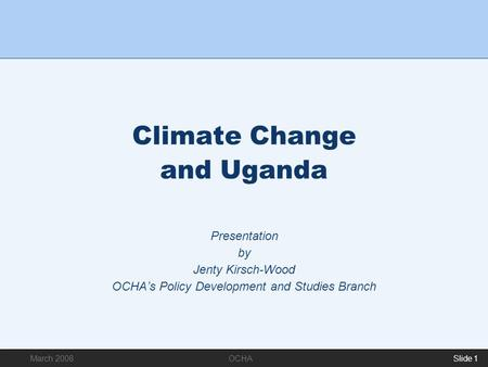 Climate Change and Uganda