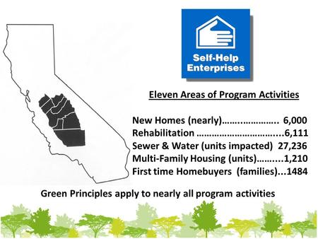 Eleven Areas of Program Activities New Homes (nearly)……..………….. 6,000 Rehabilitation …………………………....6,111 Sewer & Water (units impacted) 27,236 Multi-Family.