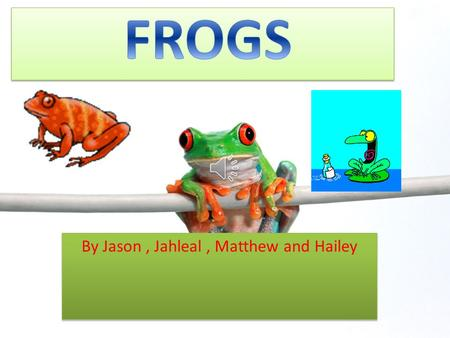 By Jason, Jahleal, Matthew and Hailey What A Frog Looks Like!