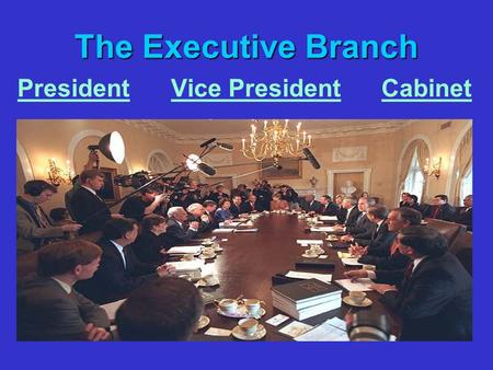 The Executive Branch President Vice President Cabinet.