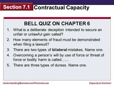 Understanding Business and Personal Law Contractual Capacity Section 7.1 Capacity to Contract BELL QUIZ ON CHAPTER 6 1.What is a deliberate deception intended.